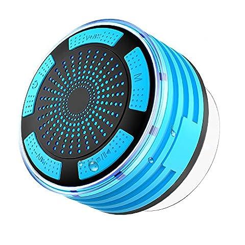 IPX7 ÉTanche, SEGURO Enceinte Bluetooth Étanche Pour La Douche V4.0 Sans Fil Mini Haut-Parleur Bluetooth Portable Mains Libres, Radio FM, Ventouse, Rechargeable Enceinte