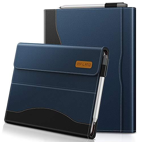 Infiland Microsoft Surface Go Hülle,PU-Lederne Vordere Unterstützung Schutzhülle Cover Tasche (Tablet,Tastatur & Bleistift Sind Nicht Enthalten),Dunkleblau