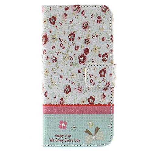 iPhone 6 6S Hülle Klapphülle von NICA, Slim Flip-Case Kunst-Leder Vegan, Phone Etui Schutzhülle, Dünne Vorne Hinten Handytasche Wallet Bumper für Apple iPhone 6S 6 - Pretty Roses Edition Pretty Small Flowers