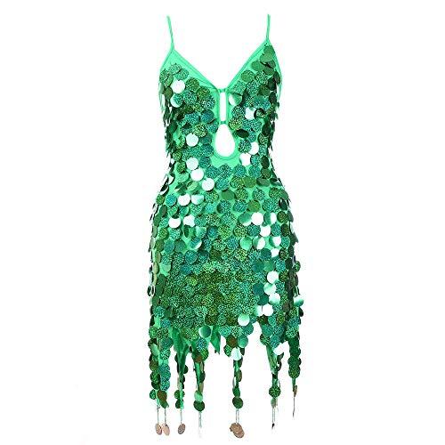 Rabatt Tanz Kostüm - Partykleider Damen Sexy, Plot Mode Frauen V-Ausschnitt Ärmellos Pailletten Quaste Mini Kleider für Nachtclub Abend Party Lateinischer Tanz Performance Kostüme