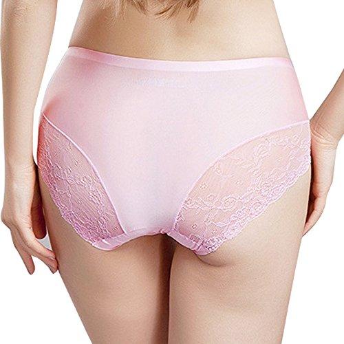 Sidiou Group Culotte en dentelle pour femme, de une pièce, Culotte sexy sans marque en la ceinture moitiée pour augmenter la fesse et rétrécir l'abdomen, slips en grand taille avec la fourche de coton Rose