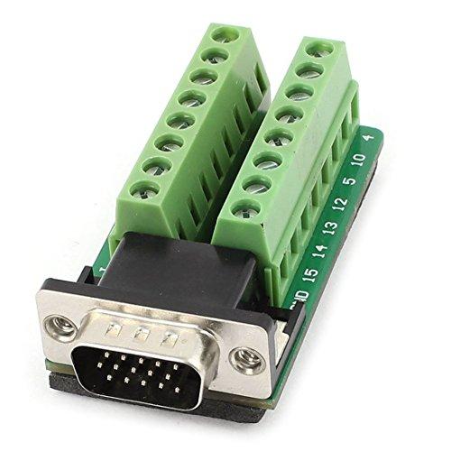 Adattatore convertitore - SODIAL(R) D-SUB VGA PCB Scheda Connettore terminale DB15 spina di 15 spillo (Piastra Terminale Adattatore)