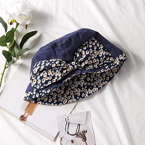 COOOOEENS Eimer Hut für Frauen Outdoor-Sportarten Blaue Farbe Caps Floral Double Side Sonnenhut Baumwolle Angeln Hut