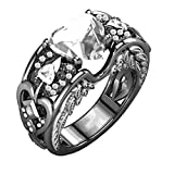 FEITONG Verlobungsringe Edelstein für Damen und Männer, Rubin Edelsteine Ringe Herz Ringe Edelstahl Schmuck, Gold Silber (Größe:7(17mm), #06-Weiß)
