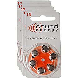 lot de 5 plaquettes - Audisound Piles Amplificateurs Auditifs, Amplificateur Sonore Personnel Zinc Air Piles, Sans Mercure, Taille 13 (A13), 30 piles