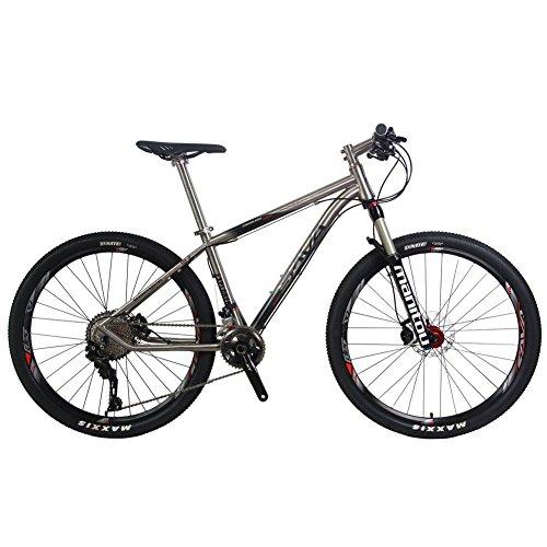 """SAVA 27.5"""" Bicicleta de Montaña de Titanio MTB SHIMANO 8000 Manituo Horquilla de Suspensión con Bloqueo Mountain Bike Maxxis Neumáticos Fi'zi:k Cojín"""