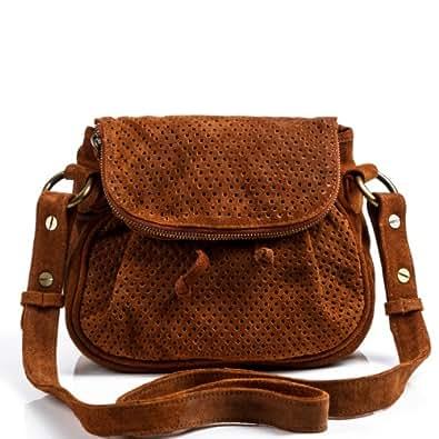 FEYNSINN sac porté à l'épaule HALEY - petit - Sac bandoulière - sac pour dames châtain clair en cuir véritable