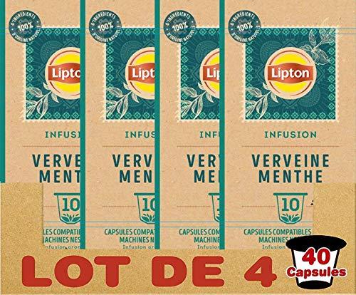 Lipton Infusions Aromatisée Verveine Menthe, Capsules Compatibles Nespresso 40 Capsules (Lot de 4x10 Capsules)