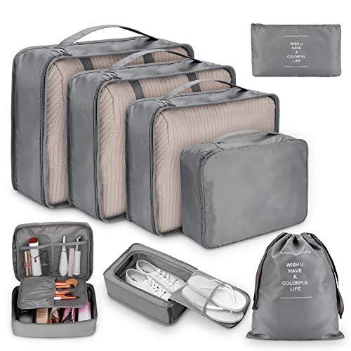 Koffer Organizer Set 8-teilig, kleidertaschen für Kleidung Kosmetik Schuhbeutel Kabel Aufbewahrungstasche, Reisen Organizer Tasche Blau (Grau)