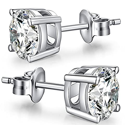 Stud Earrings - Unique Fashion Sterling Silver Round Cut White Cubic Zirconia CZ Stud Earrings - Diameter 6mm Round Stud Earrings With Simple Design - Fashion Women/Men Stud Earrings Nickel Free