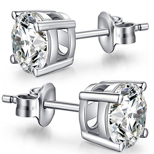 CZ Diamant Ohrstecker Sterling Silber Runde Cut Zirkonia Ohrstecker,Weißgold Plattiert Sterling Silber Ohrstecker,Runde CZ Ohrstecker,Einfache Lässige Ohrstecker...
