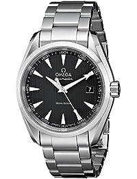 Omega - negro de hombre, 38mm, pulsera de acero y caso cuarzo dial reloj 23110396006001