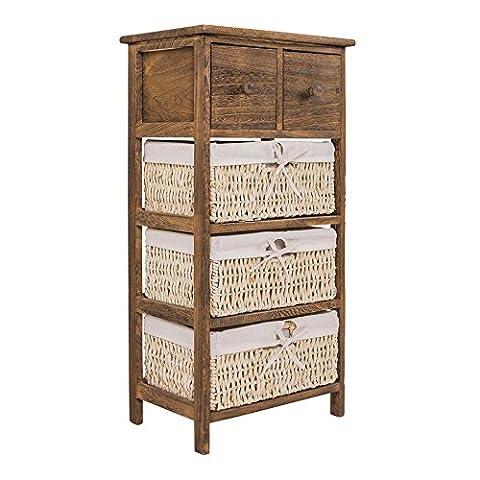 Marron, table de chevet et armoire de rangement shabby chic bois avec 3 tiroirs en osier 2 (Cod. 0-1565)