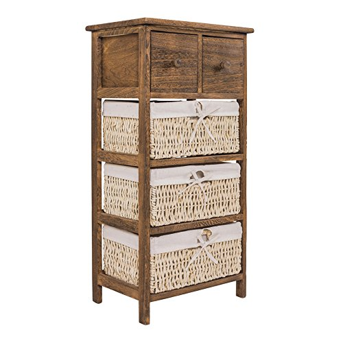 Rebecca Srl Cabinet Chest Of Drawers Bedside Table 5 Drawers Cream Brown  Wood Wicker Storage Shabby Chic Country Bathroom Bedroom (cod. X 1565)