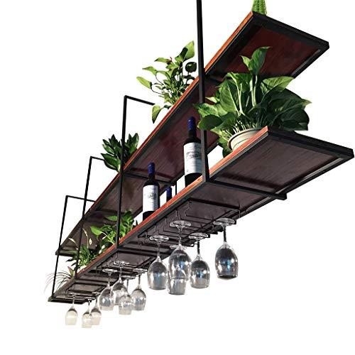Wine Rack Deckenmontierte hängende Haushalts-Speicher-Organisator-Regal-Bar-Restaurant verschob Wandhalter-Weinregale (größe : 120×30×80cm) (Bücherregal Cube Speicher)