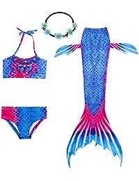 UrbanDesign Traje De Baño Disfraz Cola De Sirena Niña con Bikini para Nadar, 7-8 años, Pez Azul