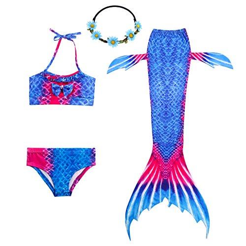 Schwanz mit Meerjungfrau Badeanzug Schwanzflosse Zum Schwimmen Kostüm Für Kinder Mädchen, 11-12 Jahre, Blau Rot ()