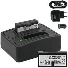 2x Baterías + Cargador doble (USB/Coche/Corriente) BA-90 para Sennheiser Audioport A1, E90, E180 (Set 180), HDE 1030 / HDI 91, 92... / RI 200, RI 300... - v. lista