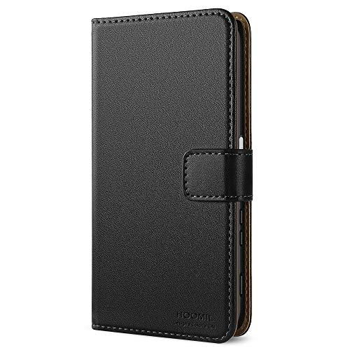 HOOMIL Handyhülle für Sony Xperia Xcompact Hülle, Premium Leder Flip Schutzhülle für Sony Xperia Xcompact Tasche, Schwarz