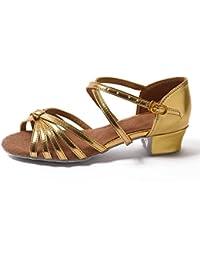 HROYL Zapatos de baile/Zapatos latinos de satín Niñas ES-N03
