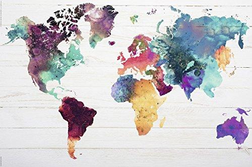 """Póster """"Mapa del mundo"""" El Mundo en Acuarelas (91,5cm x 61cm) + 2 marcos negros para póster con suspención"""