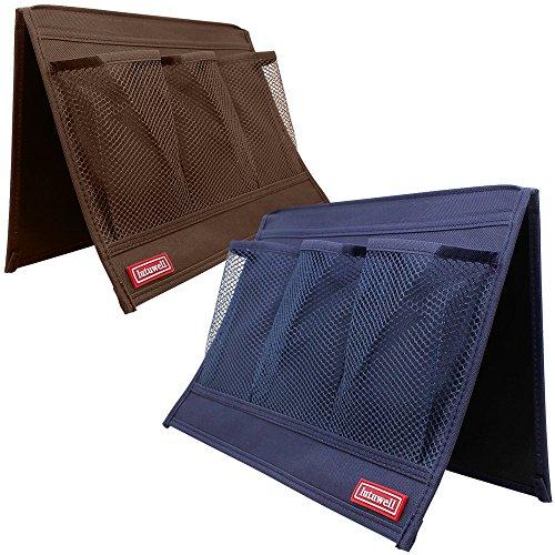 4 Bolsillo Organizador de Almacenamiento Lado de Cama, FineGood Conjunto de 2 Pack Sofá Caddy Cabinet para Teléfono Control Remoto Tableta Revista Auricular