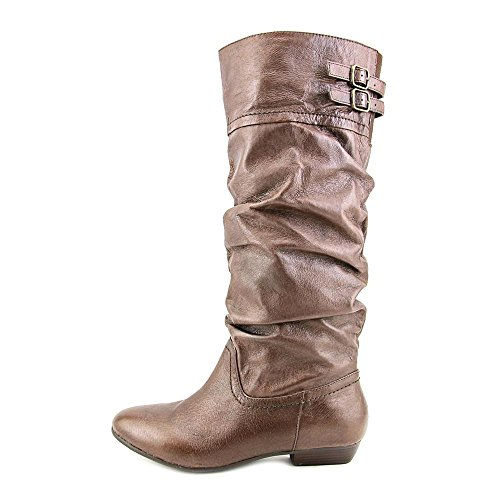 Nine West Lyssa Rund Leder Mode Mitte Calf Stiefel Dk Brown