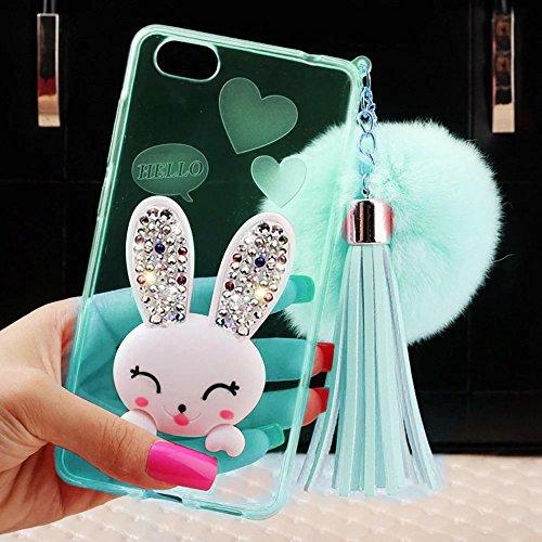 MOMDAD Coque iPhone 5 5S SE Etui iPhone 5 5S SE TPU Silicone Coque iPhone 5 5S SE Coque de Protection en TPU Souple Coque avec Bling Diamant Case-Rose Lapin-Vert