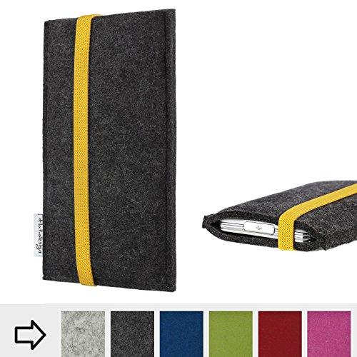flat.design Handytasche Coimbra mit gelben Gummiband-Verschluss für Nokia 8110 4G - Schutz Case Etui Filz Made in Germany in anthrazit gelb - passgenaue Handy Hülle für Nokia 8110 4G