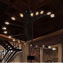 BBSLT Scala a chiocciola retrò in ferro battuto lampadari lampadario loft negozio di abbigliamento semplice (Famiglie Luce Ciondolo Pendente)