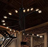 BBSLT Scala a chiocciola retrò in ferro battuto lampadari lampadario loft negozio di abbigliamento semplice e creativa soggiorno cafe bar ciondolo 800*660mm