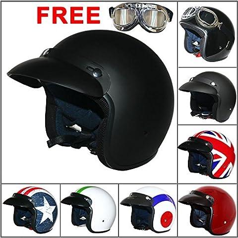 LEOPARD LEO-604 Open Face Scooter Motorcycle Motorbike Crash Helmet Road Legal+ Extra Mirrored Goggle Matt Black L (59-60cm)