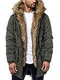 Husaria Designer Jacke Winterjacke mit Kapuze und Stylischem Fell Winter Camouflage Parka 9203 (XL, Khaki)