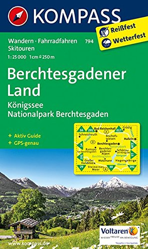 Preisvergleich Produktbild Berchtesgadener Land - Königssee - Nationalpark Berchtesgaden: Wanderkarte mit Aktiv Guide, Radrouten und Skitouren. GPS-genau. 1:25000 (KOMPASS-Wanderkarten, Band 794)