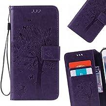 LEMORRY Samsung Galaxy Note 4 Funda Estuches Pluma Repujado Cuero Flip Billetera Bolsa Piel Slim Bumper Protector Magnética Cierre Standing Card Slot TPU Silicona Carcasa Tapa para Galaxy Note 4 (N910F), Árbol suerte Púrpura