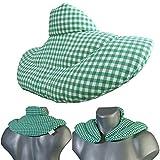 Nackenhörnchen mit Stehkragen grün-weiß | Kirschkernkissen | Nackenkissen Wärmekissen - Ein sehr wohliger Nackenwärmer
