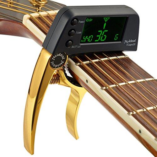 juqilu Tcapo20, 2 in 1, elektrischer Gitarren-Stimmer, Multifunktionale Gitarren-Tuner und Capo Elektronische LCD-Gitarren-Zubehör