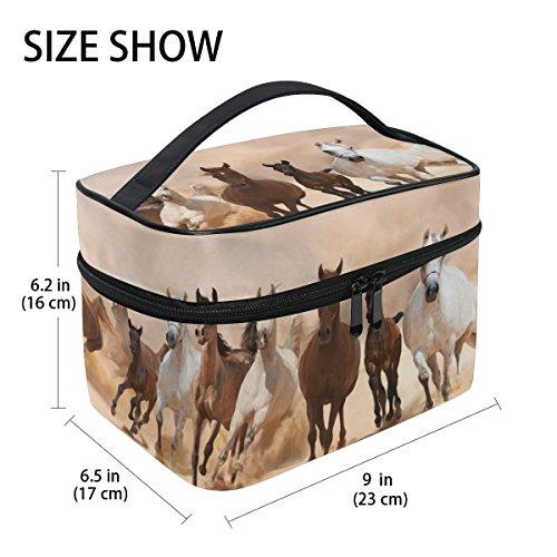 tizorax Pferde laufen auf den Sand Storm Große Kosmetiktasche Bag Travel Make-up-Organizer Fall Halter für Frauen Mädchen Pattern-1 einheitsgröße