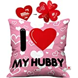 indibni Love Printed Cushion 12X12 Pillow with Filler Insert Pink I Love My Hubby
