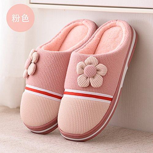 DogHaccd pantofole,Autunno Inverno home soggiorno con un paio di pantofole di cotone confezione con bella calda spessa antiscivolo pantofole di peluche di uomini e donne. Il semi-rosa4