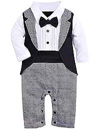 Bébé Garçon de Mode Vêtements Combinaisons Gilet de Smoking Barboteuse + Nœud  Papillon Costume Manteau Gentleman d8f7dc843f7