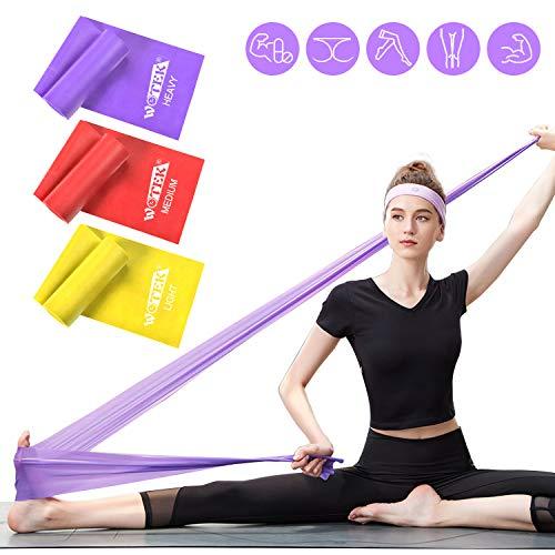 WOTEK Fitnessbänder Set Theraband Fitnessband Resistance Bands Gymnastikband Widerstandsbander Krafttraining-3x Trainingsband für Pilates Yoga Gymnastik und Crossfit | Fitnessband