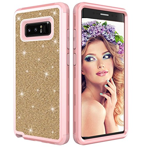 Coque Samsung Galaxy Note 8,Aearl Samsung Galaxy Note 8 Coque Luxe Shiny Brillante Glitter Double 3 In 1 Hybrid Hard PC Arrière Shell +Doux Silicone Bumper Full-Body 360 Coverage Antichoc Protection Housse pour Samsung Galaxy Note 8-Rose Or + Or