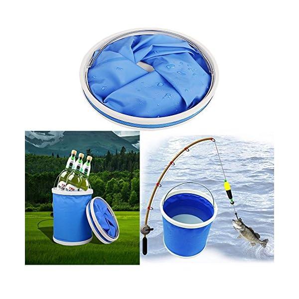 Cubo plegable Cubeta de agua portátil Multiuso - Apto para acampar, Deportes al aire libre, Uso doméstico, Cubo de agua para lavado de autos Capacidad de 11L - Ligero y fácil de transportar 2