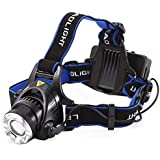 Kurtzy Plastic Headlamp Headlight Weatherproof LED Flash Light with 2 4800Ah Rechargeable Battery (KA-045, Multicolour)