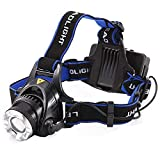 Kurtzy Plastic Headlamp Headlight Weatherproof LED Flash Light with 2 4800Ah Rechargeable Battery