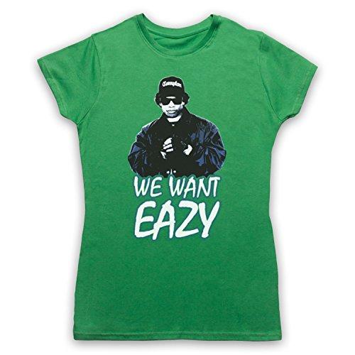 Inspiriert durch Eazy E We Want Eazy Picture Unofficial Damen TShirt Grun