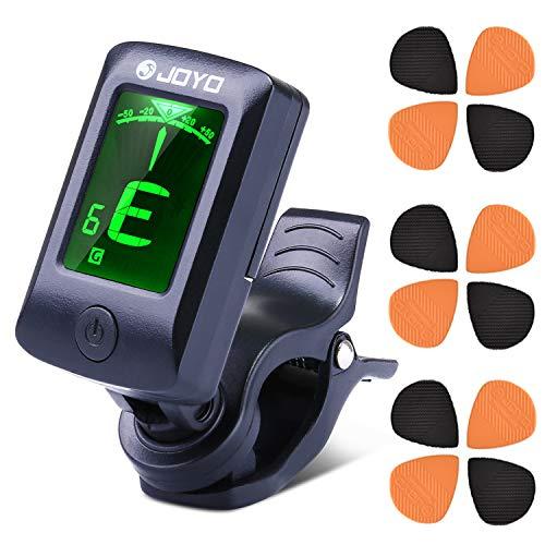 EXJOY Stimmgerät Gitarre, Clip-on Tuner für Gitarre, Bass, Geige, Ukulele, Chromatisches Stimmgerät mit Batterie, Automatisch Ausgeschaltet