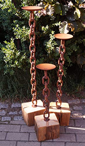 Edelrost Kerzenständer Rustikal auf Holzbalken groß 100cm, inkl. Herz 8x6cm Garten Deko Wohnen
