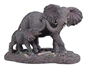 StealStreet SS-G-54137 Gray Elephants Mother & Child Playing with Trunks Figurine, 6.5""